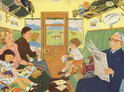 Off in the train. Illustration for Holidays by E R Boyce (Macmillan, c 1950).
