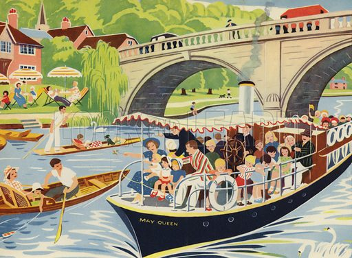 Out in a boat. Illustration for Holidays by E R Boyce (Macmillan, c 1950).