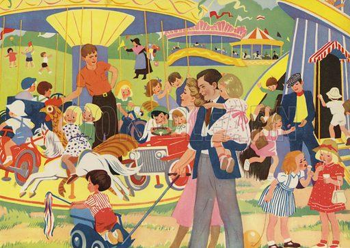 At the fair. Illustration for Holidays by E R Boyce (Macmillan, c 1950).