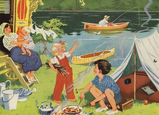 At the camp. Illustration for Holidays by E R Boyce (Macmillan, c 1950).