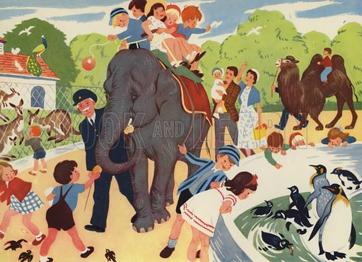 The Zoo. Illustration for Holidays by E R Boyce (Macmillan, c 1950).