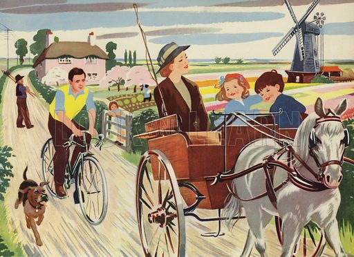A ride in the country. Illustration for Holidays by E R Boyce (Macmillan, c 1950).