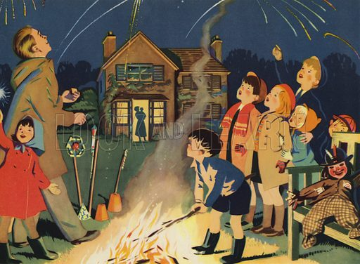 Bonfire night. Illustration for Holidays by E R Boyce (Macmillan, c 1950).