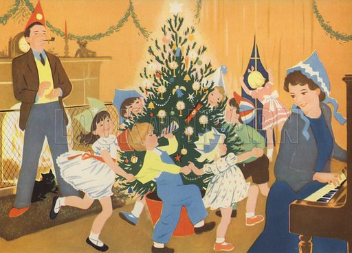 The Christmas Party. Illustration for Holidays by E R Boyce (Macmillan, c 1950).