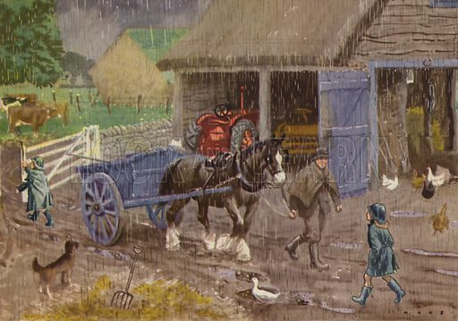 A rainy day. Illustration for In the Country by E R Boyce (Macmillan, c 1950).