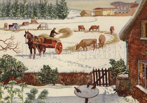 Winter time. Illustration for In the Country by E R Boyce (Macmillan, c 1950).