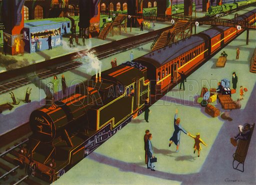 In the station. Illustration for Travelling by E R Boyce (Macmillan, c 1950).
