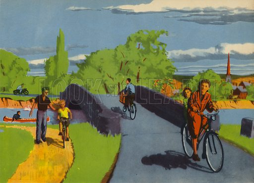 A ride on a bicycle. Illustration for Travelling by E R Boyce (Macmillan, c 1950).
