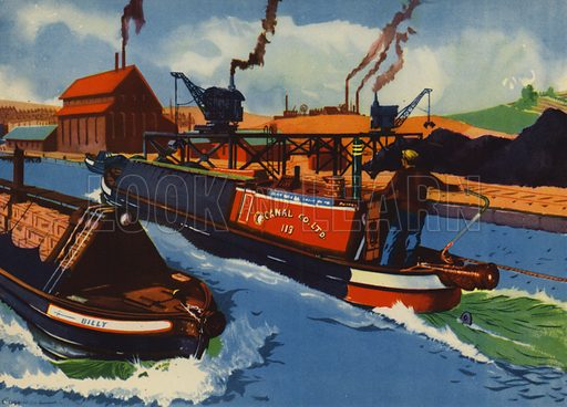 Barges on the canal. Illustration for Travelling by E R Boyce (Macmillan, c 1950).