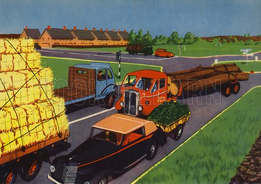 On the way to town. Illustration for Travelling by E R Boyce (Macmillan, c 1950).