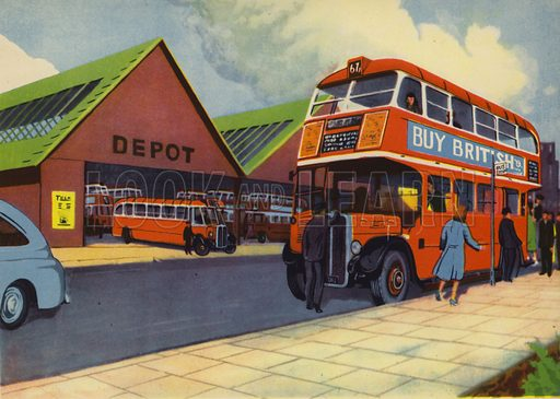 They go by bus. Illustration for Travelling by E R Boyce (Macmillan, c 1950).