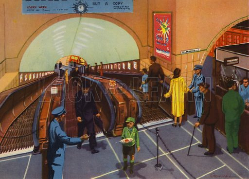 To the Underground train. Illustration for Travelling by E R Boyce (Macmillan, c 1950).
