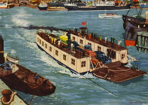 The ferry crosses the river. Illustration for Travelling by E R Boyce (Macmillan, c 1950).
