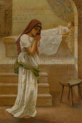 The Shunammite Woman. Illustration for Boys of Bible Story by C J Ridgeway (Griffith Farran, c 1890).
