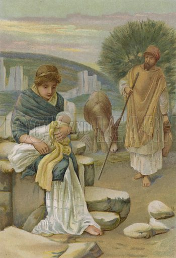 The Flight into Egypt. Illustration for Boys of Bible Story by C J Ridgeway (Griffith Farran, c 1890).