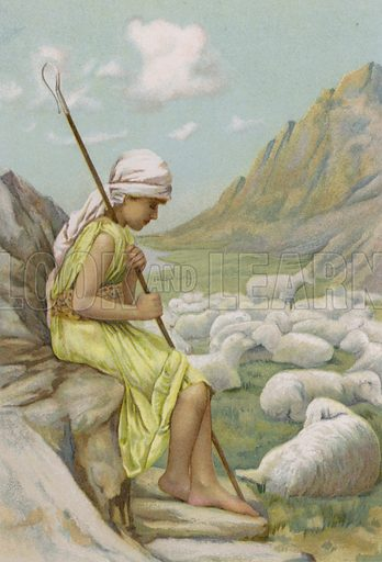 David feeding the sheep. Illustration for Boys of Bible Story by C J Ridgeway (Griffith Farran, c 1890).