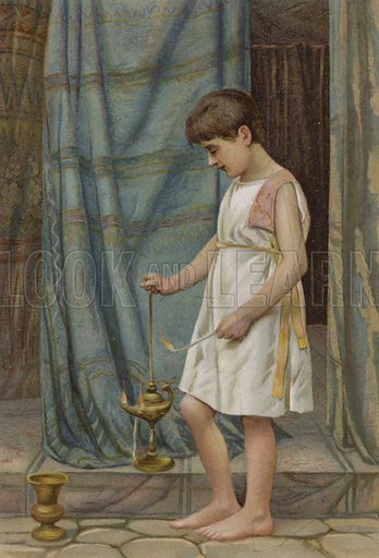 Samuel in the Temple. Illustration for Boys of Bible Story by C J Ridgeway (Griffith Farran, c 1890).