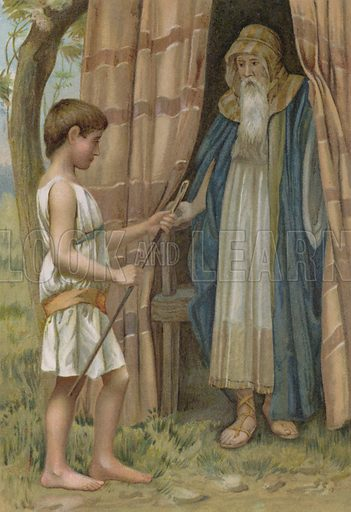 Abraham and Isaac. Illustration for Boys of Bible Story by C J Ridgeway (Griffith Farran, c 1890).