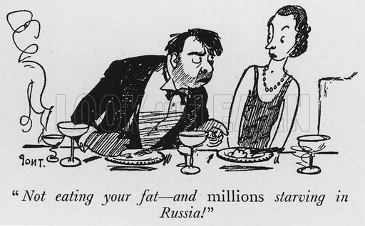 """""""Not eating your fat, and millions starving in Russia!"""" Illustration for The British at Home by Pont [ie Graham Laidler] (Collins, 1939)."""