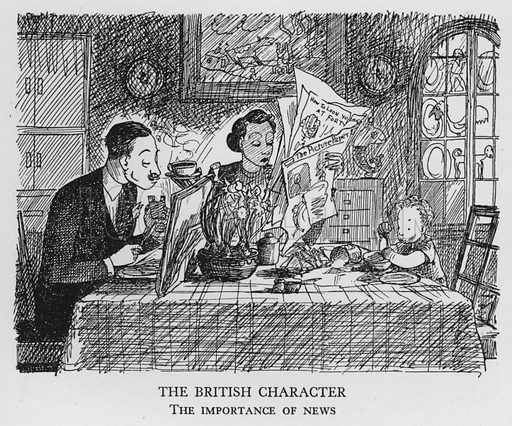 The British Character, The importance of news. Illustration for The British at Home by Pont [ie Graham Laidler] (Collins, 1939).