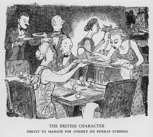 The British Character, Ability to manage for oneself on Sunday evening. Illustration for The British at Home by Pont [ie Graham Laidler] (Collins, 1939).