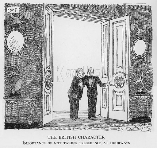 The British Character, Importance of not taking precedence at doorways. Illustration for The British at Home by Pont [ie Graham Laidler] (Collins, 1939).