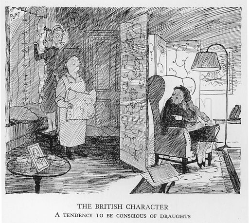 The British Character, A tendency to be conscious of draughts. Illustration for The British at Home by Pont [ie Graham Laidler] (Collins, 1939).