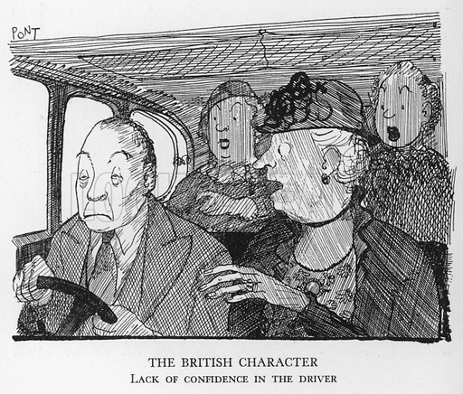 The British Character, Lack of confidence in the driver. Illustration for The British at Home by Pont [ie Graham Laidler] (Collins, 1939).
