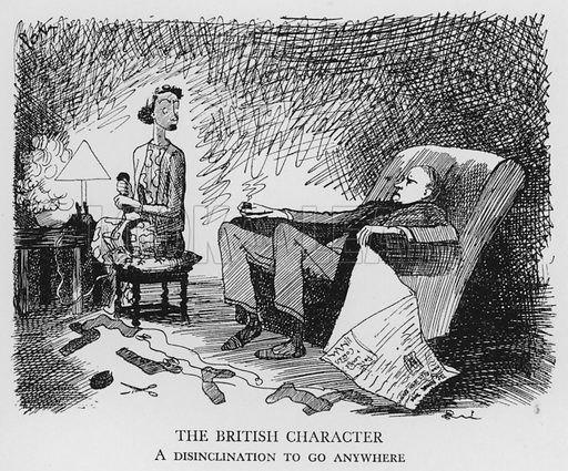 The British Character, A disinclination to go anywhere. Illustration for The British at Home by Pont [ie Graham Laidler] (Collins, 1939).