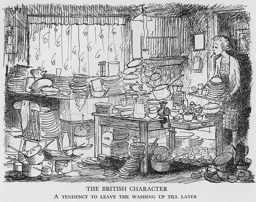 The British Character, A tendency to leave the washing up till later. Illustration for The British at Home by Pont [ie Graham Laidler] (Collins, 1939).