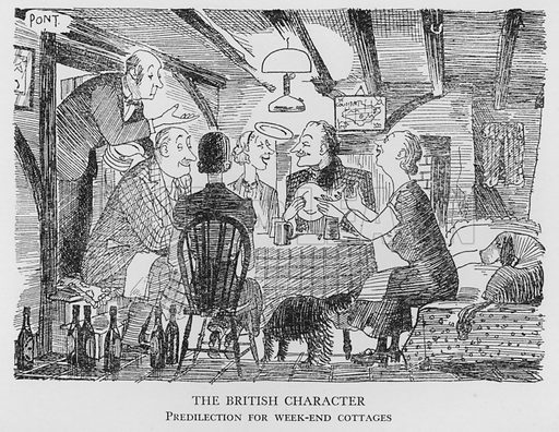 The British Character, Predilection for week-end cottages. Illustration for The British at Home by Pont [ie Graham Laidler] (Collins, 1939).