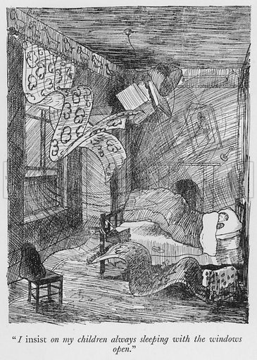 """""""I insist on my children always sleeping with the windows open."""" Illustration for The British at Home by Pont [ie Graham Laidler] (Collins, 1939)."""