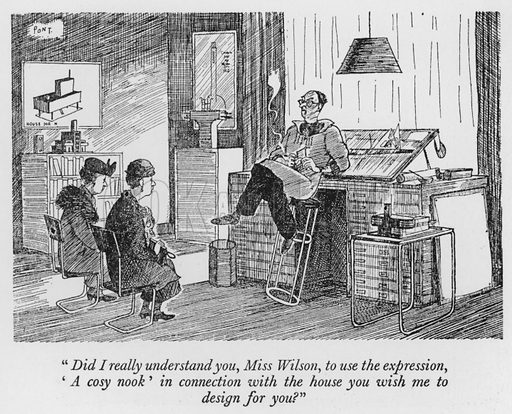 """""""Did I really understand you, Miss Wilson, to use the expression, 'A cosy nook' in connection with the house you wish me to design for you?"""" Illustration for The British at Home by Pont [ie Graham Laidler] (Collins, 1939)."""