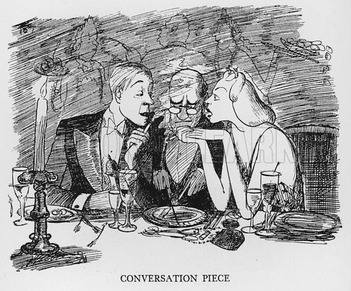 Conversation piece. Illustration for The British at Home by Pont [ie Graham Laidler] (Collins, 1939).