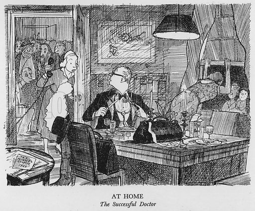 At Home, The Successful Doctor. Illustration for The British at Home by Pont [ie Graham Laidler] (Collins, 1939).