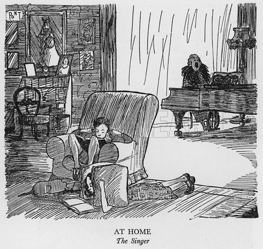 At Home, The Singer. Illustration for The British at Home by Pont [ie Graham Laidler] (Collins, 1939).