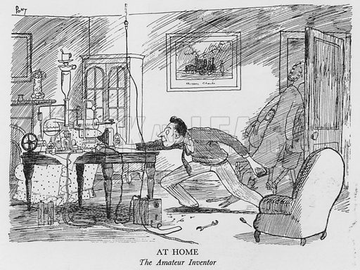 At Home, The Amateur Inventor. Illustration for The British at Home by Pont [ie Graham Laidler] (Collins, 1939).