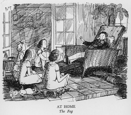At Home, The Fag. Illustration for The British at Home by Pont [ie Graham Laidler] (Collins, 1939).