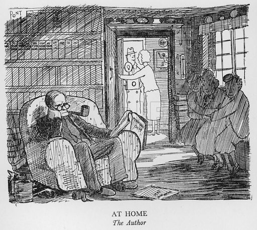 At Home, The Author. Illustration for The British at Home by Pont [ie Graham Laidler] (Collins, 1939).