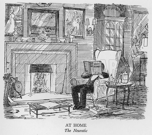 At Home, The Neurotic. Illustration for The British at Home by Pont [ie Graham Laidler] (Collins, 1939).