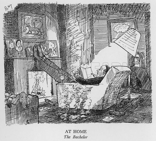 At Home, The Bachelor. Illustration for The British at Home by Pont [ie Graham Laidler] (Collins, 1939).