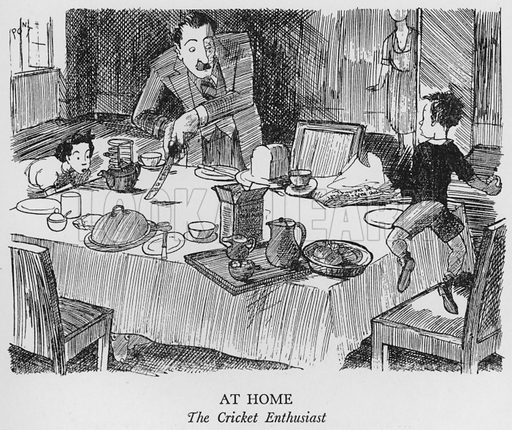 At Home, The Cricket Enthusiast. Illustration for The British at Home by Pont [ie Graham Laidler] (Collins, 1939).