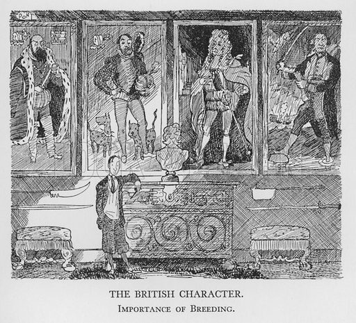 The British Character, Importance of Breeding. Illustration for The British Character studied and revealed by Pont (ie Graham Laidler) (Collins, 1938).