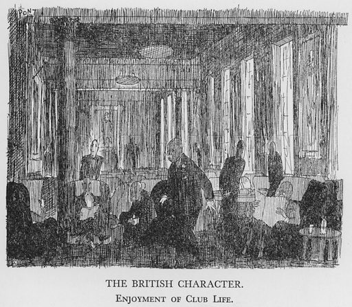 The British Character, Enjoyment of Club Life. Illustration for The British Character studied and revealed by Pont (ie Graham Laidler) (Collins, 1938).