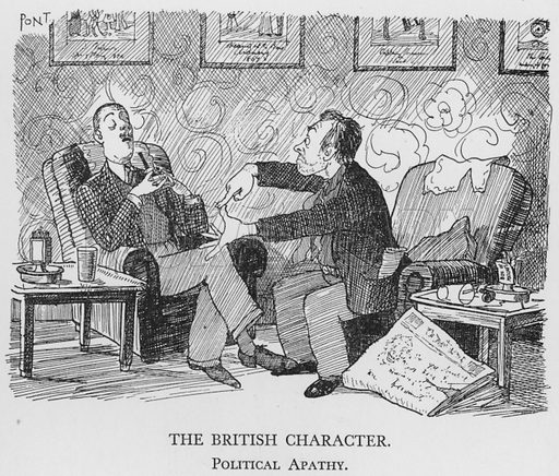 The British Character, Political Apathy. Illustration for The British Character studied and revealed by Pont (ie Graham Laidler) (Collins, 1938).