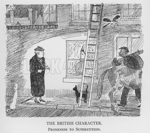 The British Character, Proneness to Superstition. Illustration for The British Character studied and revealed by Pont (ie Graham Laidler) (Collins, 1938).