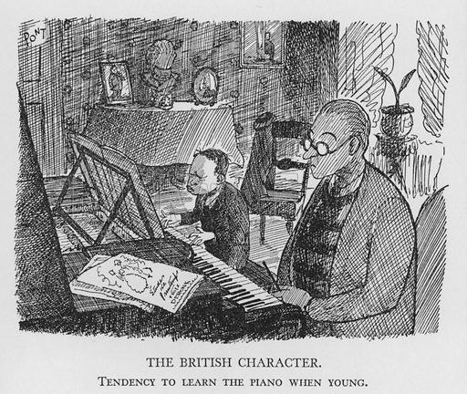 The British Character, Tendency to learn the piano when young. Illustration for The British Character studied and revealed by Pont (ie Graham Laidler) (Collins, 1938).