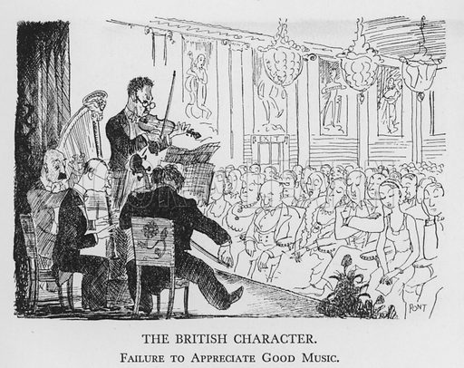 The British Character, Failure to Appreciate Good Music. Illustration for The British Character studied and revealed by Pont (ie Graham Laidler) (Collins, 1938).