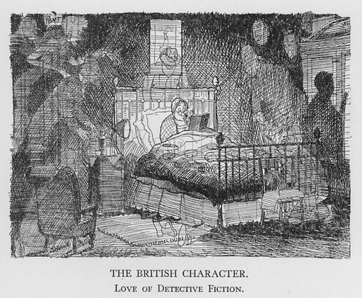 The British Character, Love of Detective Fiction. Illustration for The British Character studied and revealed by Pont (ie Graham Laidler) (Collins, 1938).
