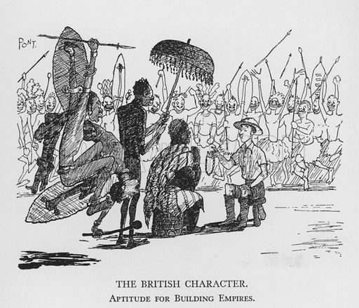 The British Character, Aptitude for Building Empires. Illustration for The British Character studied and revealed by Pont (ie Graham Laidler) (Collins, 1938).